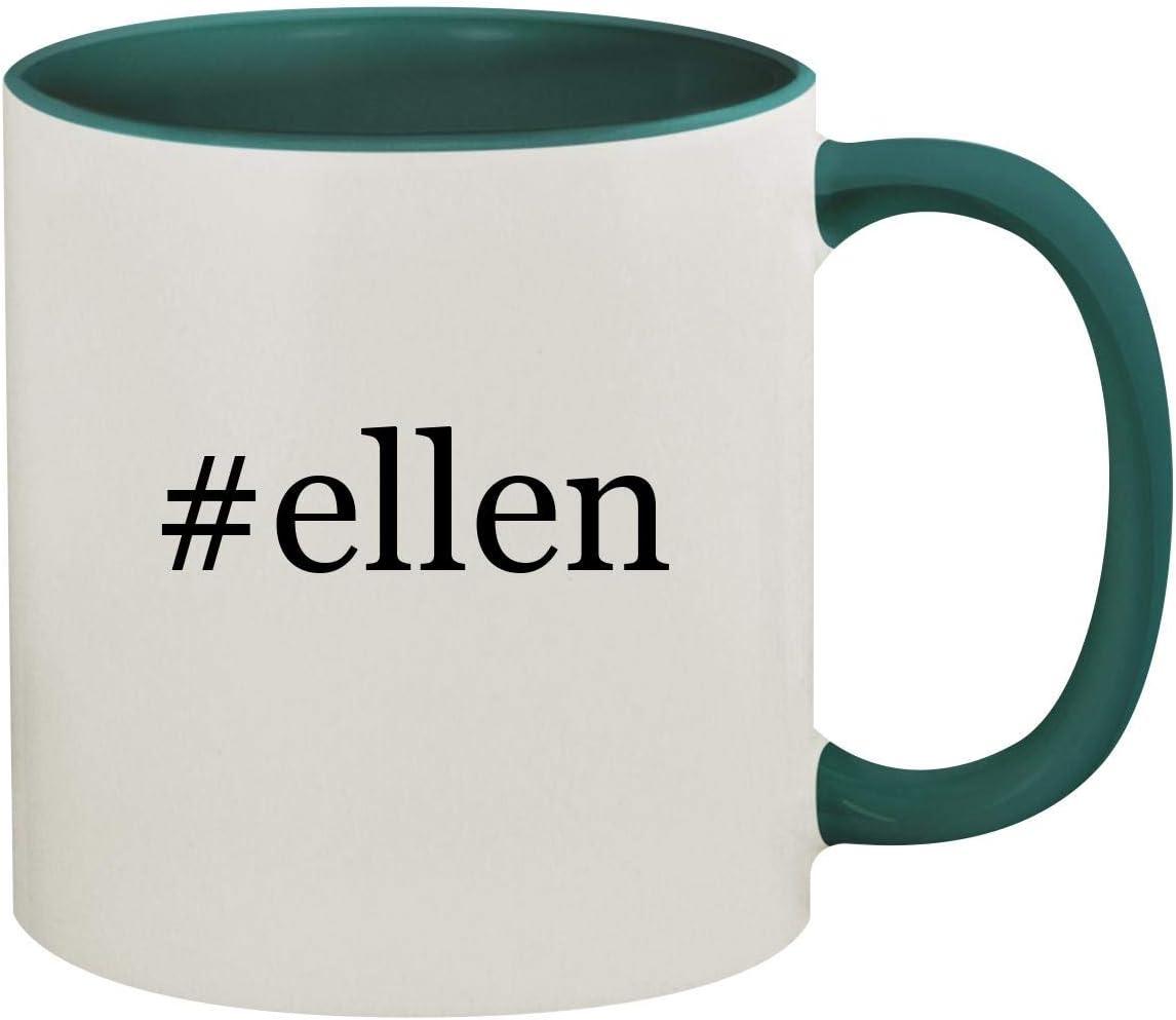 #ellen - 11oz Hashtag Ceramic Colored Inside & Handle Coffee Mug, Green