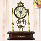 MCC Desk table clock Old-school Round European pure copper mute Garden Living Room Decorative Silent swing clock modern fashion antique quartz Non ticking watch , coffee