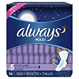 Always Maxi Size 5 Extra Heavy Overnight Pads With Wings,36 Count (Pack of 4) (Package May Vary)