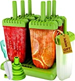 Popsicle Molds Set - BPA Free - 6 Ice Pop Makers + 1 Extra Mold + Silicone Funnel + Cleaning Brush + Recipes E-book - by Lebice.