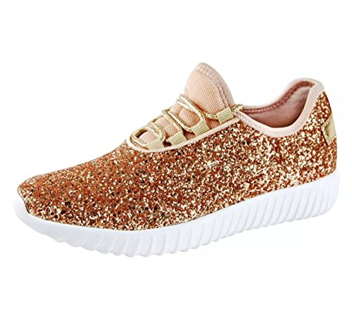 SF Forever Link Remy-18 Women&Kids Jogger Sneaker-Lightweight Glitter Quilted Lace Up Shoes New (6.5, Rose Gold-18)