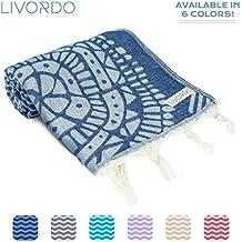 Livordo Turkish Beach Towel Soft, Absorbent 100% Cotton Made in Turkey Quick Dry Lightweight Bath Sheet, Sarong, Pareo, Wrap, Pestemal, Scarf, Spa, Yoga, Gym, Hiking, Camping (NavyBlue)