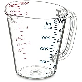 Carlisle 4314207 Commercial Plastic Measuring Cup, 1 Pint, Clear