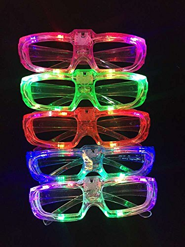 12 Piece Light Up Flashing Glasses Unisex LED Glasses For Adults & Children (Assorted Colors)- With Push On/Off Button for All Occasions (6 Flashing Light)