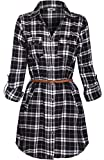 BodiLove Women's Trendy Belted Button Up Plaid Flannel Cotton Dress