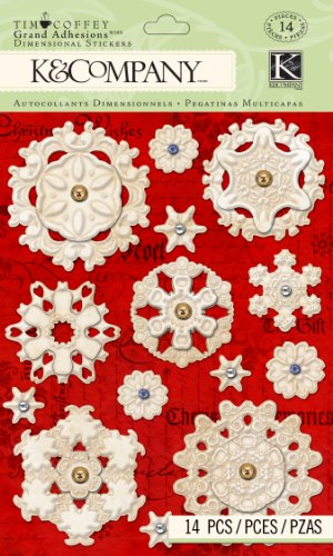 K&Company Grand Adhesions Dimensional Stickers, Tim Coffey Embossed Snowflakes