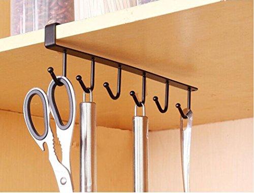 Price comparison product image Hanging Hook Rack,  Staron Kitchen Storage Rack Cupboard Hanger Chest Space Saver Organizer Hook Rack Holder (Black)