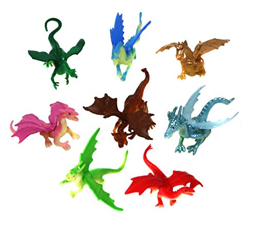 SN Incorp. Mini Dragon Toy Figures In Assorted Colors And Styles - 2 Inch Plastic Dragons Pack Of 24 Dragon Mini Figure