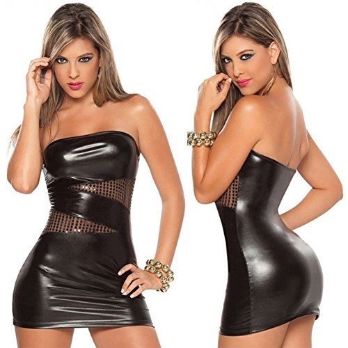 ThinkMax Women Skinny Sexy Tight Short Skirt Leather Wet Look Mini Tube Top Dress with Sheer Sequin Night Club Wear Fetish (Skirts Skin Tight)