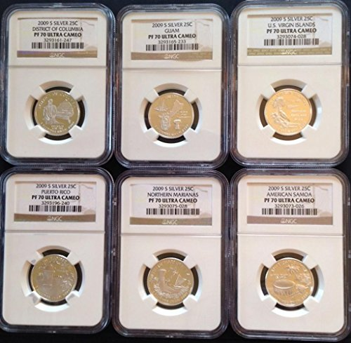 - 2009 U.S. Territories -- Set of 6 Silver State Quarters -- NGC PF-70
