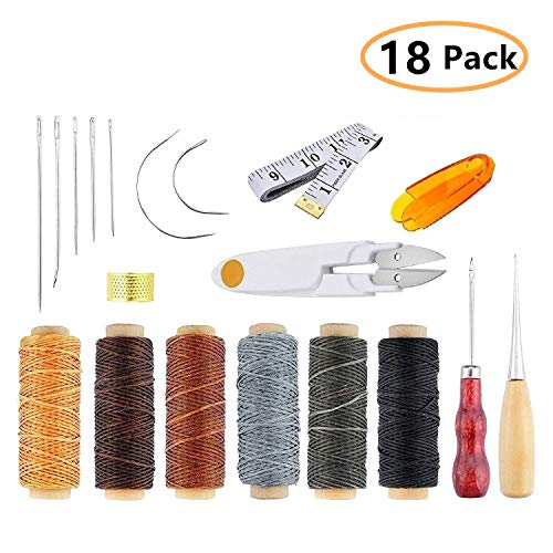 ONEST 18 Pieces Leather Craft Tool Leather Hand Sewing Needles Upholstery Carpet Leather Canvas DIY Sewing Accessories by ONEST