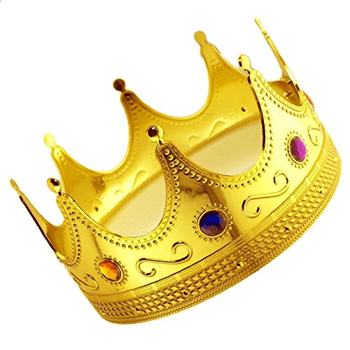 Adorox Gold Royal King Plastic Crown Prince Costume Accessory Adult/Kid -
