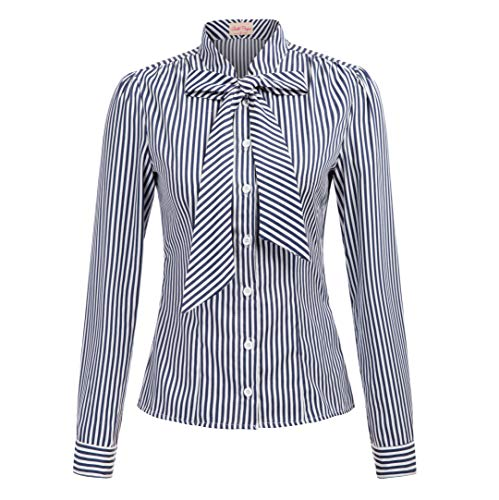 (Women's Casual Blouses Bow Tie Neck Ladies Long Sleeve Office Shirt Tops)