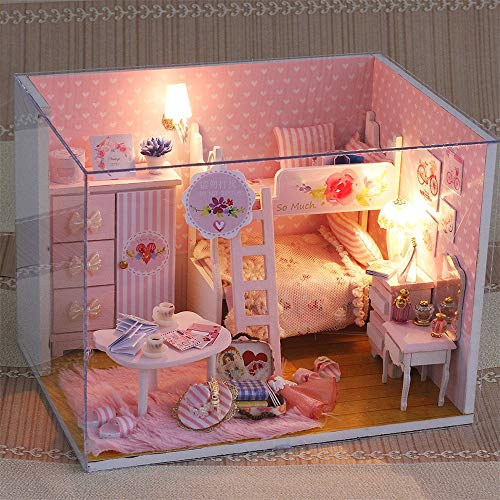 Dollhouse Miniature with Furniture, Handmade DIY Wooden DollHouse Kit Plus Dust Proof and Music Movement, Scale Creative Room for Dolls Houses With Furniture & LED & Music Box Birthday Gift (As shown) ()