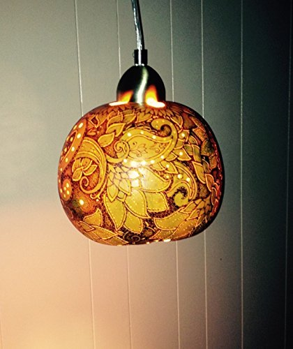 Carved Gourd - Natural Hard-shelled Gourd Ceiling Light, wood burned, carved and dyed yellow
