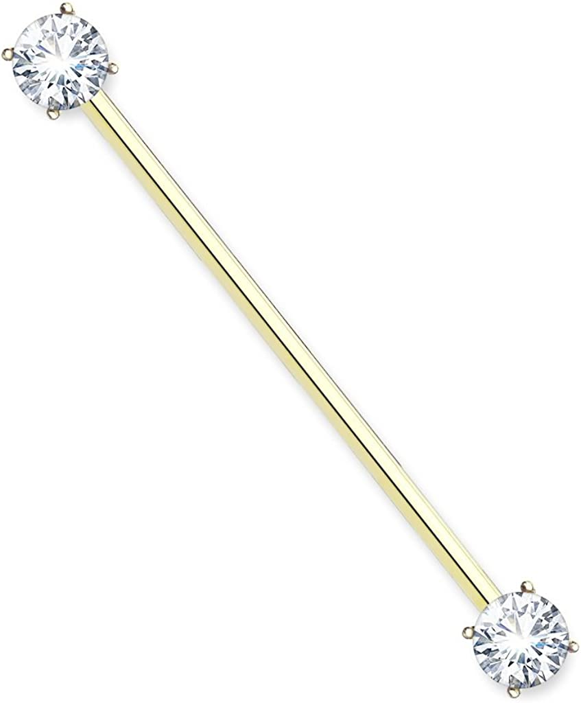 Pierced Owl Round CZ Crystal Industrial Barbell in 316L Surgical Steel