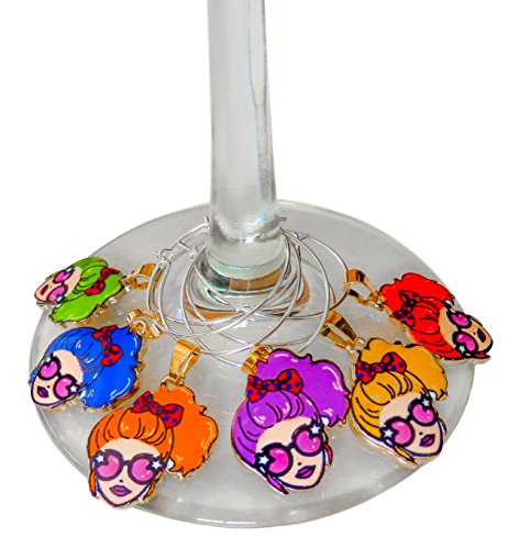 Wine Glass Charms - Wine Markers - Wine Party Gift Ideas for Her - Girls Night - Bachelorette Party Favors, Decorations and Supplies
