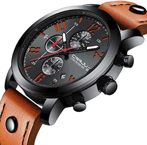 fde6e4a4397 Fashion Black Dial Chronograph Watch with Orange Leather Band Wrist Watch