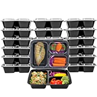 20 Pack Kitchen Komforts 3 Compartment Meal Prep Containers