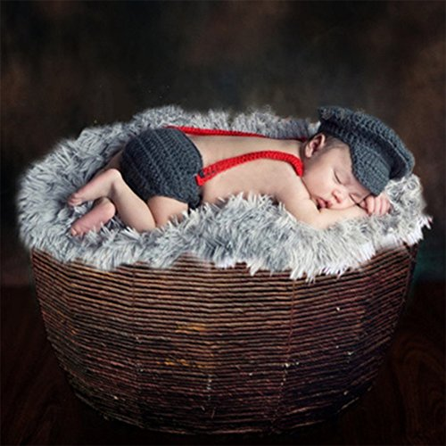 Newborn Baby Photography Prop Crochet Knitted Hat Pants Costume Outfits, Panda Santa (brown) (Santa Baby Outfit)