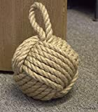 6 Inch Diameter Monkey Fist Sailor Knot Doorstop (Natural Jute)