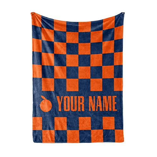 Personalized Corner Custom Syracuse University Orange Themed Fleece Throw Blanket - Orangemen Fan Apparel for Men Women Kids College Football Basketball (Child 50