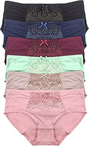 ToBeInStyle Women's 6 Pack Plus Size Frilly Lace Front Panel Cotton Bikini - 2X