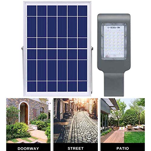 SZYOUMY Solar Street Flood Lights IP65 Outdoor Lamp 50W 3300 Lumens with Remote Control Dusk to Dawn Security Lighting for Yard, Garden, Gutter, Pathway, Basketball Court, Arena (50W No Pole)