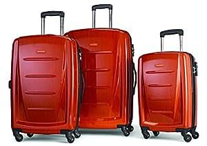 Samsonite Luggage Winfield 2 Fashion 3-Piece Spinner Set, Checked Large, Orange
