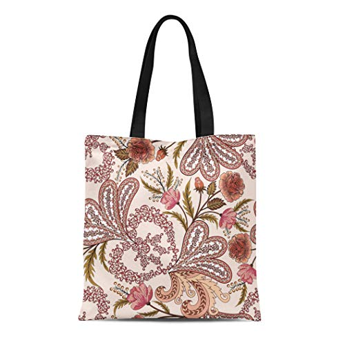 Semtomn Canvas Tote Bag Shoulder Bags Beige Intricate Openwork Pattern Paisley Watercolor Roses in Pink Women's Handle Shoulder Tote Shopper Handbag ()