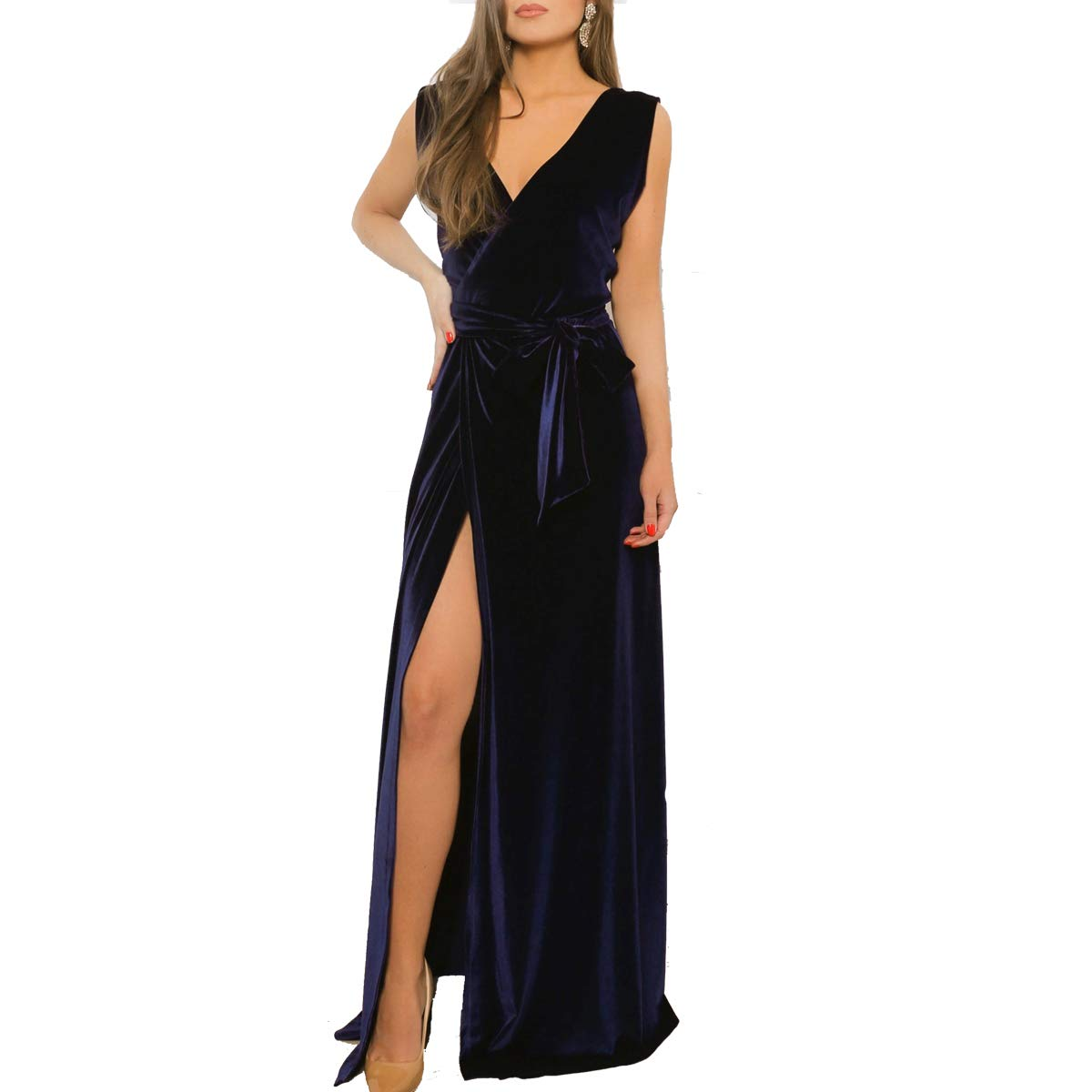 Dark Navy TTYbridal VNeck Split Side Velvet Prom Dresses Backless Long Evening Party Gown with Belt