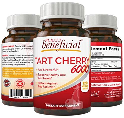 Organic Tart Cherry Capsules 6000mg - Extra Strength, Raw, Non-GMO, 120 Capsules(Vegetarian)