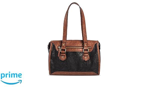d6f1f6674d84 Amazon.com  Bueno Women s Faux Leather Satchel (Black Brown)  Shoes