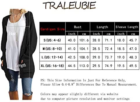 Traleubie Women's Open Front Long Sleeve Boho Boyfriend Knit Chunky Cardigan Sweater
