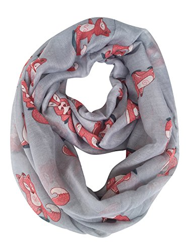 GERINLY Cute Fox Print Infinity Loop Scarves For Women (Gray)