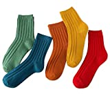 Women's Solid Color Cotton Socks Slouch Socks 5 Pairs