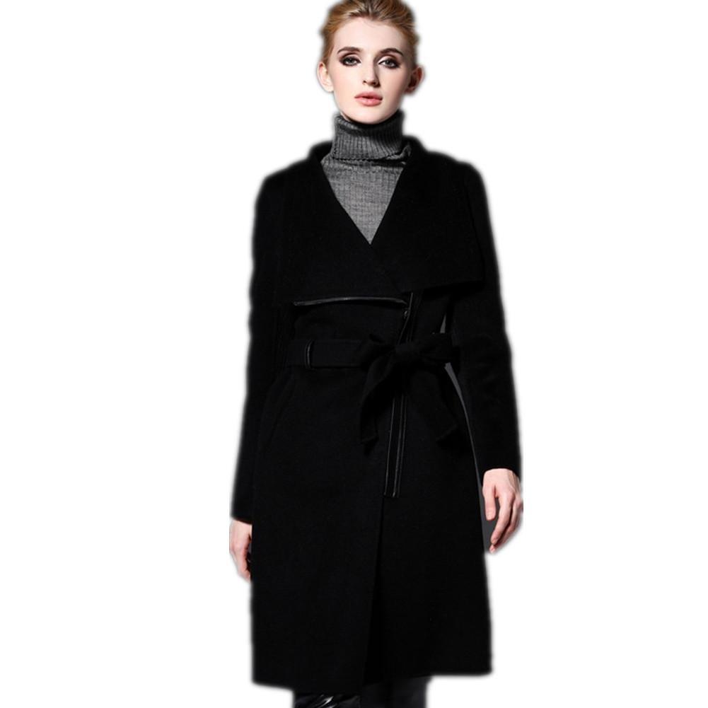 XYLUCKY Abrigo de lana de manga larga empalmados de mujeres . s