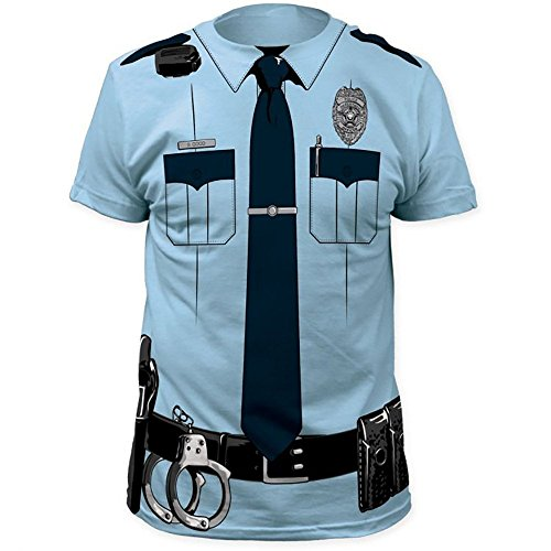 [POLICE OFFICER COP Johnny Law Blue Halloween Men's Costume T-Shirt (M)] (Police Officer Costume Shirt)