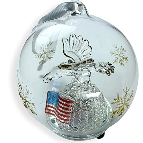 BANBERRY DESIGNS LED Christmas Ornament Patriotic - Eagle and American Flag LED Color Changing Lights- Hand Painted Gold Glitter Snowflakes- Glass Christmas Ornament 3 1/2