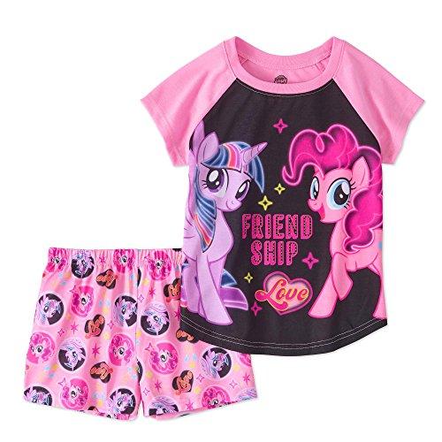 - AME Little Pony Girls Pajamas Set Shorts Short Sleeve Shirt 2 Pc Friendship,Pink, Black,6-6X