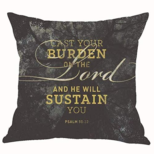 Mesllings Forest Landscape Inspirational Motto Cast Your Burden On The Lord and He Will Sustain You Cotton Linen Throw Pillow Cover Cushion Case Home Chair Office Decorative Square 18 X 18 inches (C)