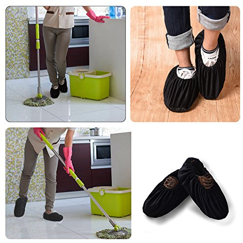 Uarter Reusable Booties Shoe Covers 5 Pairs, Anti Slip Boot Shoe Covers with Elasticity Convenience for Indoor, Contractors and Carpet Floor Protection, Machine Washable, Black by Uarter (Image #6)