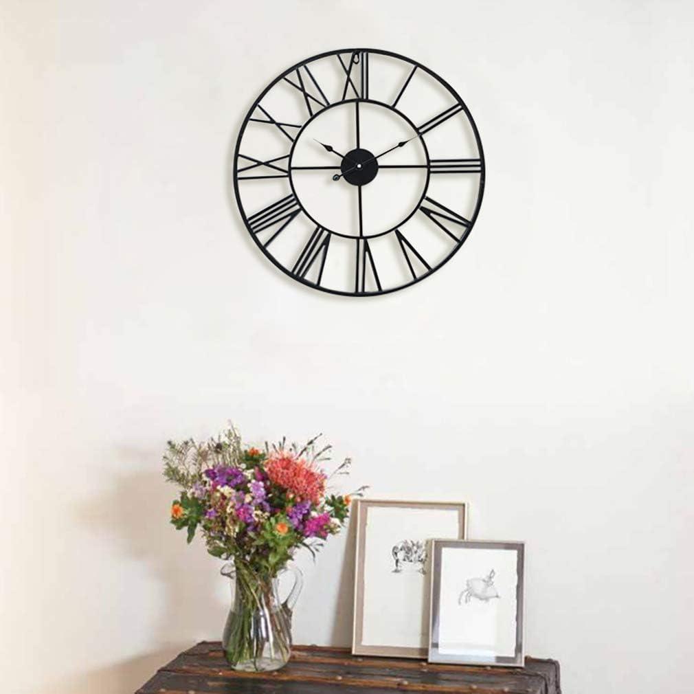 Vintage Zeiger Antic by Casa Chic T/ürkis R/ömische Ziffern 60 cm Durchmesser Gro/ße Metall Wanduhr mit Quarz Uhrwerk