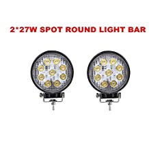 """Primeprolight 2Pcs 4"""" 27w Round spot Led work Light high Waterproof rate IP67 Super Bright Driving Light for Off-road, ATV, SUV, Truck, Jeep, Boat, Car, Vehicle"""