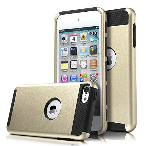 ULAK iPod Touch 6th generation case,ipod 6 Cases, Dual Layer Slim Protective Hybrid iPod Touch Case Hard PC Cover for Apple iPod touch 5 6th Generation (Champagne Gold + Black)