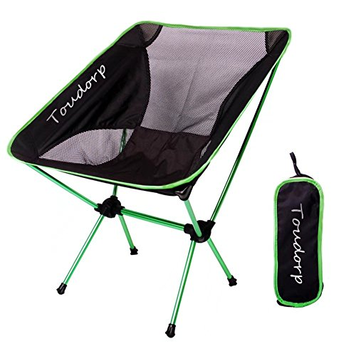 Toudorp Outdoor Folding Ground Reclining Camp Chair for Beach, Picnic, Camping, Backpacking, Hiking, Fishing, Bike Touring and Hunting Trips with Carry Bag Green
