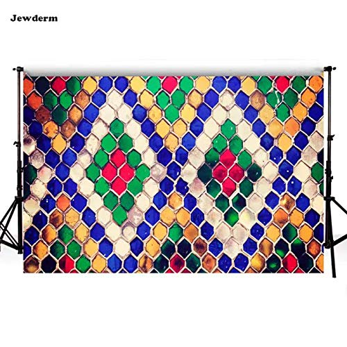 Jewderm 10x7ft Colorful Geometric Photo Backgrounds Glass Mosaic Photography Backdrops for Bathroom Shower Family Home Props