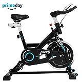 ANCHEER Indoor Cycling Bike, Belt Drive Indoor Exercise Bike with 49LBS Flywheel (Black)