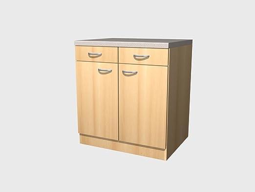 Küchenunterschrank mit Schublade 1-türig Buche Dekor Breite 50cm Küchenschrank