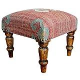 Herat Oriental Handmade Indo Kilim Upholstered Footstool, Dark sheesham